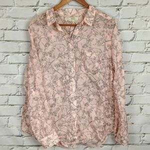 Papaya Weekend sheer blouse with birds and flowers
